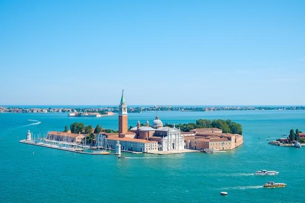 Ilha de san giorgio, veneza, itália, vista aérea