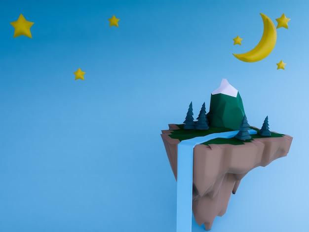 Ilha flutuante pastel com fundo de noite