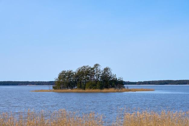 Ilha na costa do mar báltico, na finlândia, na primavera.