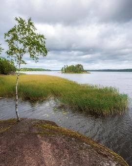 Ilha no golfo da finlândia no parque natural monrepo em vybog rússia no início do outono