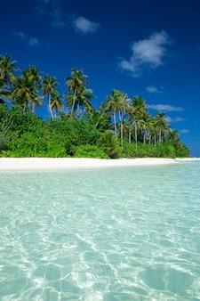 Ilha tropical com praia de areia branca e mar