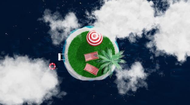 Ilha tropical. conceito de viagens e férias, renderização em 3d