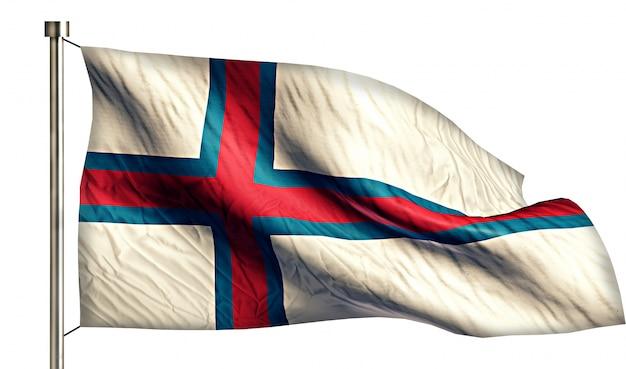Ilhas faroé bandeira nacional isolado 3d fundo branco
