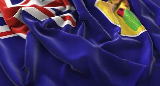 Ilhas turcas e caicos flag ruffled beautifully waving macro close-up shot