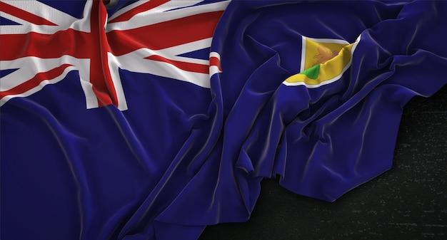 Ilhas turcas e caicos flag wrinkled on dark background 3d render