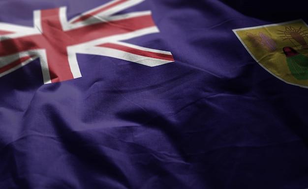 Ilhas turks e caicos bandeira amarrotada close up