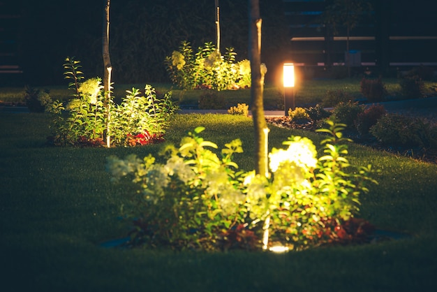 Iluminação de holofotes do jardim da frente à noite. gramado elegante na frente da casa.