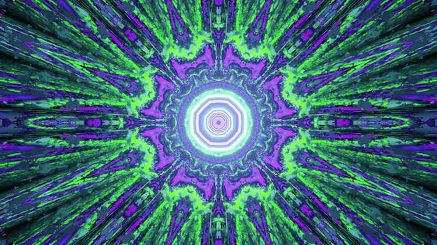 Iluminação de néon brilhante abstrato formando padrão de caleidoscópio fractal com raios simétricos como na ilustração 3d