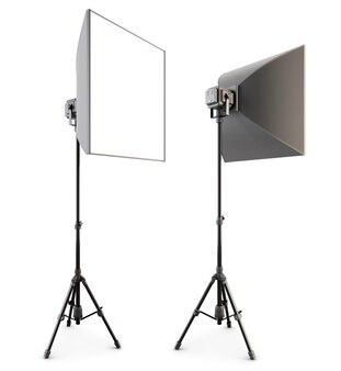 Iluminação do estúdio isolada no branco