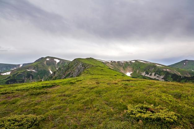 Iluminado pela manhã sol amplo vale verde, colinas cobertas de grama e distantes montanhas enevoadas rochas sob o céu azul brilhante de verão e nuvens inchadas brancas. beleza da natureza, turismo e conceito de viagem.