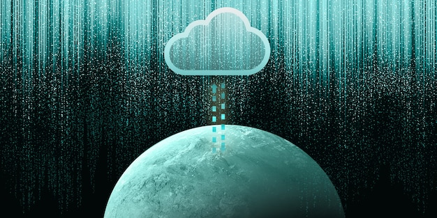Ilustração 2d de computação em nuvem, rede sem fio, armazenamento em nuvem, conceito de tecnologia de computação em nuvem