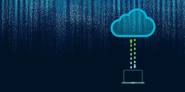 Ilustração 2d de computação em nuvem, rede sem fio, armazenamento em nuvem, fundo de conceito de internet de tecnologia de computação em nuvem