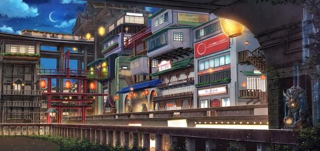 Ilustração 2d de fantasy old town durante a noite.