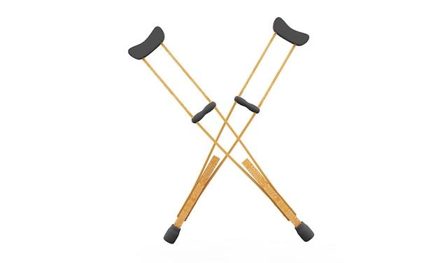 Ilustração 3d 3d par de muletas equipamento ortopédico em fundo branco