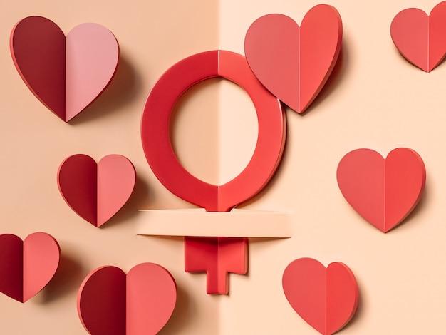 Ilustração 3d, 8 de março. conceito do dia internacional da mulher.