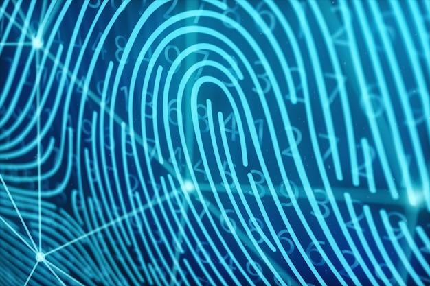 Ilustração 3d a digitalização de impressão digital fornece acesso de segurança com identificação biométrica. conceito proteção de impressão digital. impressão digital com código binário. conceito de segurança digital