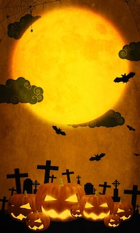 Ilustração 3d abóboras felizes em fundo laranja de halloween com lua cheia morcego e aranha as ilustrações podem ser usadas para o design de férias das crianças, cartões, convites e banners