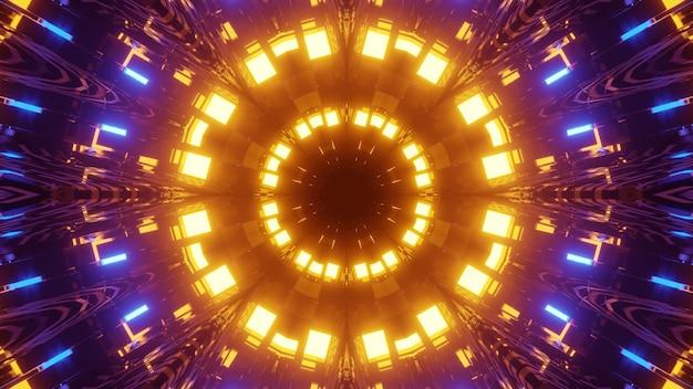 Ilustração 3d abstrata caleidoscópica de círculos dinâmicos refletindo coloridos iluminados por luzes amarelas e azuis brilhantes e formando um estreito corredor de perspectiva em fundo escuro Foto Premium