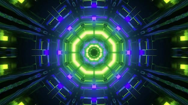 Ilustração 3d abstrata com linhas octogonais brilhantes de néon verde e azul dentro do corredor escuro do edifício futurista