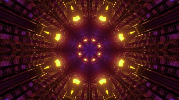 Ilustração 3d abstrata com luzes brilhantes refletindo em um túnel escuro com um buraco em forma de flor geométrica
