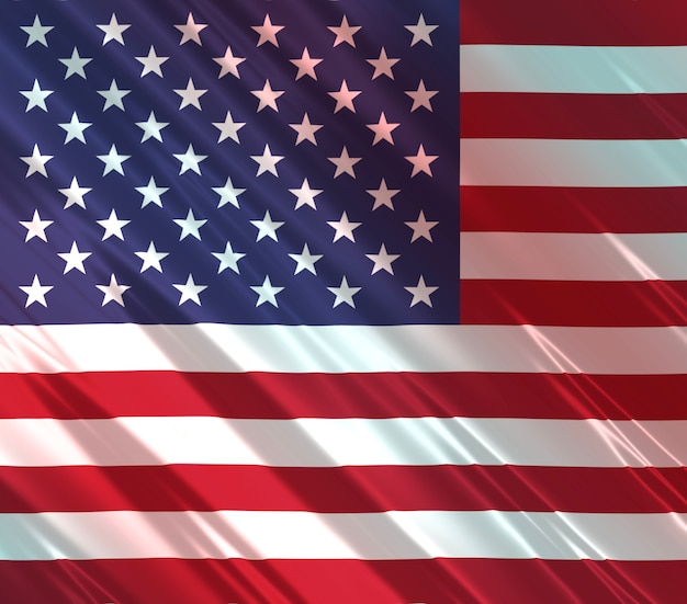 Ilustração 3d abstrata da bandeira dos estados unidos da américa do norte em tecido brilhante com vermelho