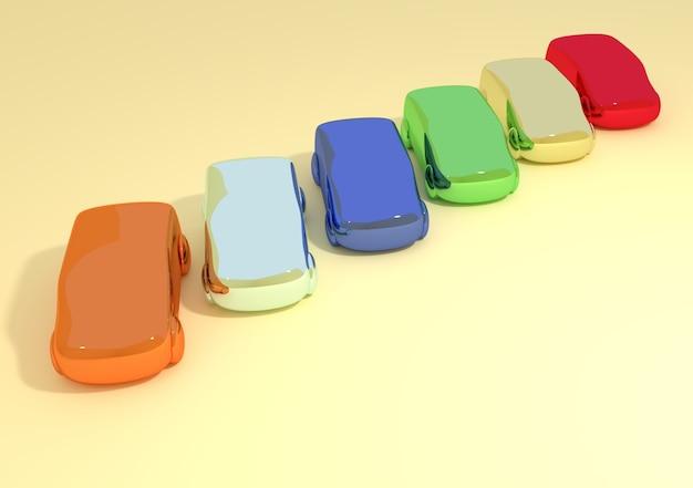 Ilustração 3d abstrata de carrinhos de brinquedo de cores brilhantes alinhados lado a lado na superfície amarela