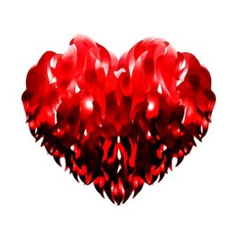 Ilustração 3d abstrata de coração vermelho feita de fitas onduladas brilhantes e sobrepostas entrelaçadas isoladas o