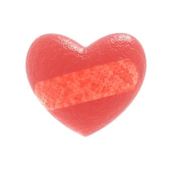 Ilustração 3d abstrata de coração vermelho texturizado brilhante com fita plástica diagonal isolada no branco