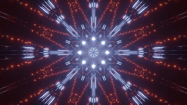 Ilustração 3d abstrata de luzes vibrantes de laranja e azul brilhando na escuridão e formando ornamento abstrato