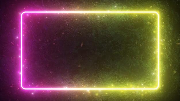 Ilustração 3d abstrata de moldura brilhante de néon