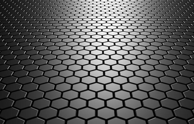 Ilustração 3d abstrato com hexágonos ilustração em mosaico futurista de tecnologia favo de mel para designs e banners