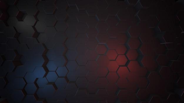Ilustração 3d abstrato hexagonal escuro, luz azul e vermelha. renderização 3d.