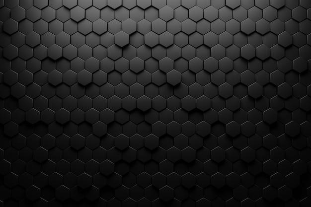 Ilustração 3d abstrato preto. hexágono em relevo, sombra de favo de mel