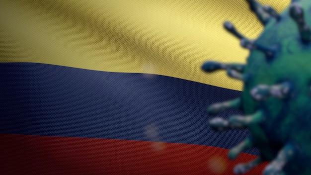 Ilustração 3d acenando a bandeira colombiana e o conceito de coronavirus 2019 ncov. surto asiático na colômbia, o coronavírus da gripe é um caso de cepa de gripe perigoso como uma pandemia. vírus do microscópio covid19