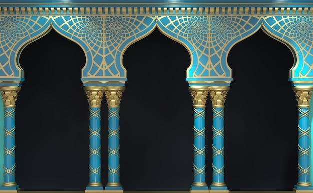 Ilustração 3d arcos orientais e colunas clássicas em estilo indiano