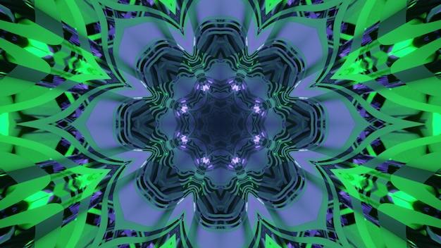 Ilustração 3d arte abstrata com ornamento floral e reflexos de luz nas cores neon azul e verde