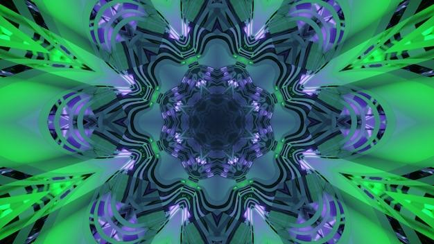 Ilustração 3d arte abstrata futurista dentro de um túnel colorido com design em forma de flor e interior espelhado de vidro refletindo a iluminação verde e azul brilhante