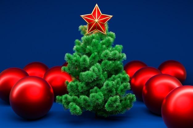 Ilustração 3d árvore de natal real com estrela e bola ao redor. mock-up para cartão com texto, cartaz de férias ou convites de férias. atributos de natal e ano novo.