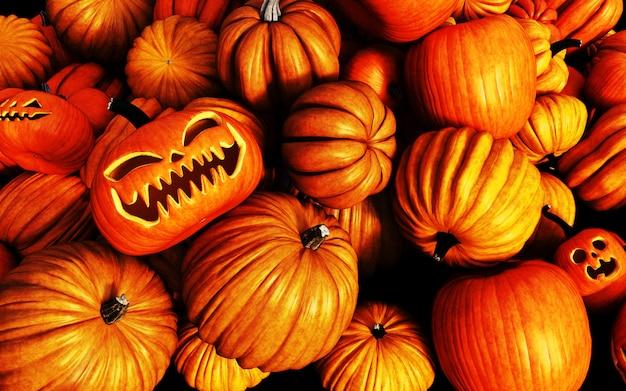 Ilustração 3d assustador jack o lantern abóboras de halloween no mercado do fazendeiro
