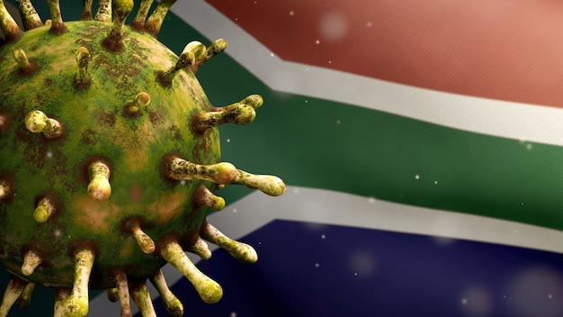 Ilustração 3d bandeira africana rsa acenando e conceito coronavirus 2019 ncov. surto asiático na áfrica do sul, o coronavírus da gripe é um caso de cepa de gripe perigoso como uma pandemia. vírus do microscópio covid19