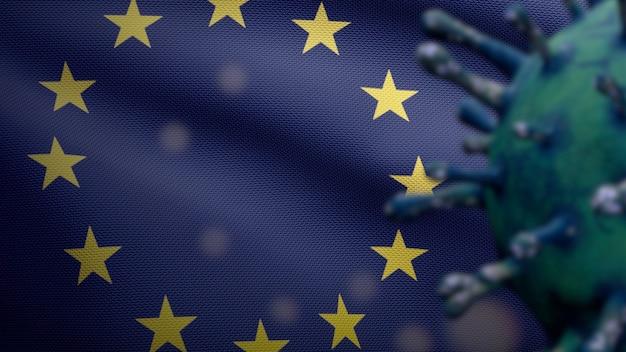Ilustração 3d bandeira da união europeia acenando com surto de coronavirus infectando o sistema respiratório como gripe perigosa. vírus da influenza covid 19 com a bandeira nacional da europa soprando ao fundo