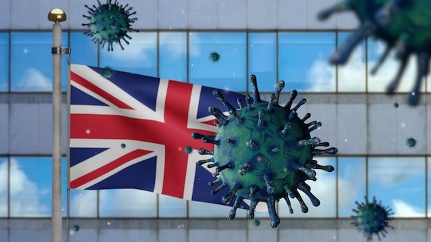 Ilustração 3d bandeira do reino unido acenando na cidade de arranha-céus modernos com coronavirus 2019. bela torre alta e surto na grã-bretanha. vírus do microscópio covid 19