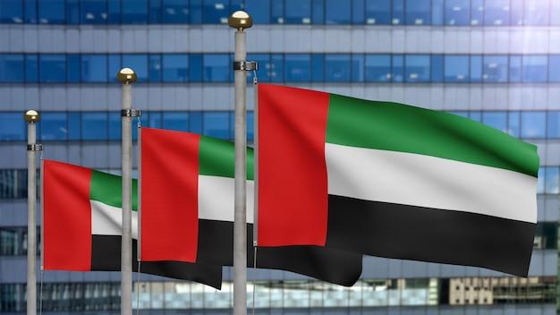 Ilustração 3d bandeira dos emirados árabes unidos acenando em uma cidade moderna de arranha-céus. bela torre alta com seda suave suave de banner dos emirados árabes unidos. fundo de estandarte de textura de tecido de pano. conceito do dia nacional