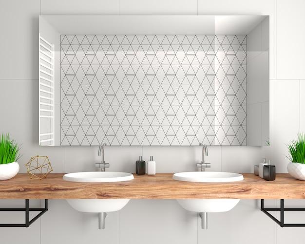 Ilustração 3d. banheiro moderno de vidro em estilo loft.