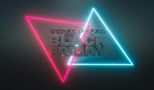 Ilustração 3d. banner de venda de sexta-feira negra com luzes de néon luminosas. modelo de design para promoção ou anúncio.
