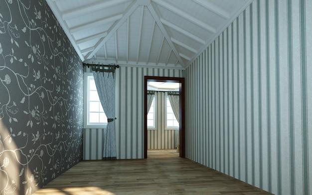 Ilustração 3d bela sala quente brilhante