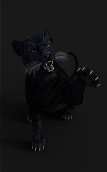 Ilustração 3d black panther isolate no preto