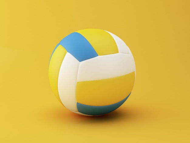 Ilustração 3d. bola de vôlei em fundo amarelo. conceito de esportes.