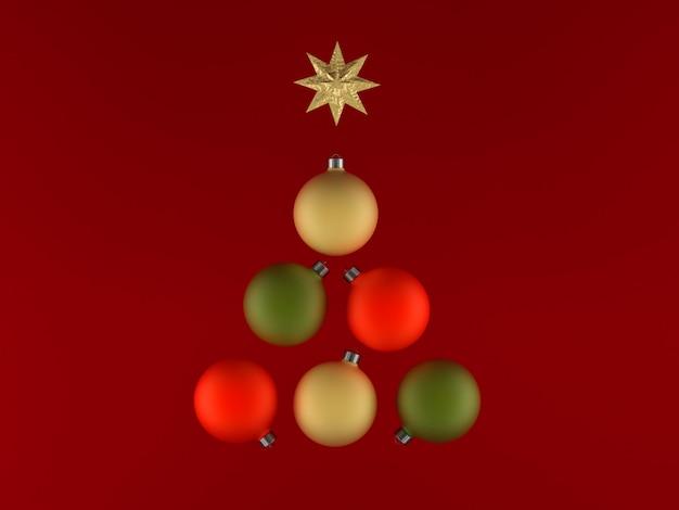 Ilustração 3d, bolas de árvore de natal, cores suaves, cartões de felicitações