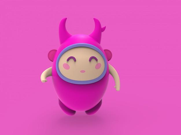 Ilustração 3d bonitinho dino kawaii personagem de desenho animado render